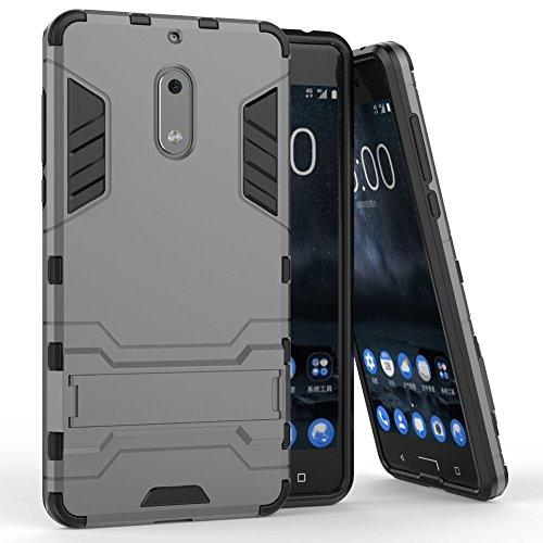 Nokia 6 Case, MicroP Dual Layer Armor Hard Slim Hybrid Kickstand Phone Cover Case for Nokia 6 (Gray Kickstand Case)