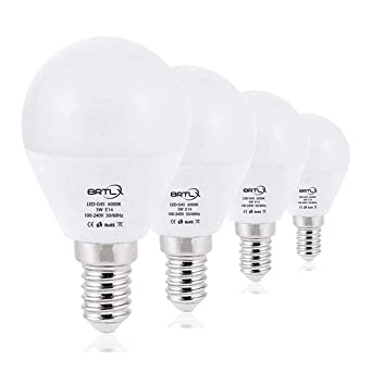 BRTLX 5W G45 Bombilla LED Mini Globo Blanco Frio 6000K E14 Incandescente Equivalente a 45 Ángulo