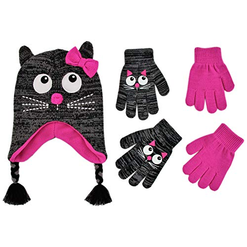 ABG Accessories Assorted Critter Designs Hat and 2 Pair Gloves or Mittens Cold Weather Set, Little Girls Ages 2-7 (Cat Design - Age 4-7 Gloves Set)