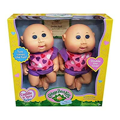 Cabbage Patch Kids Cuddle 'n Love Twins, Caucasian Girls, Blue Eyes: Toys & Games