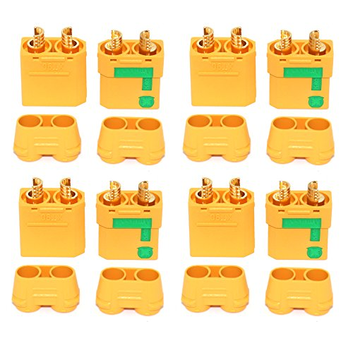 Amass Anti-Spark XT90S XT90-S XT90 Connector Male Female Adapater for Battery ESC and Charger Lead for RC Car Truck Drone Quadcopter Brushless Motor FPV Battery (4 Pairs)