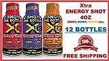 XTRA ENERGY SHOT 4OZ (NOT 2OZ) ONE DOZEN ASSORTMENT BERRY, GRAPE, ORANGE 4 EACH (LOT OF 12 BOTTLES)