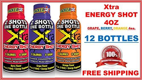 XTRA ENERGY SHOT 4OZ (NOT 2OZ) ONE DOZEN ASSORTMENT BERRY, GRAPE, ORANGE 4 EACH (LOT OF 12 BOTTLES) by STACKER 2