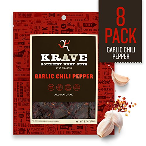 (KRAVE Jerky Gourmet Beef Cuts, Garlic Chili Pepper, 2.7 Ounce (Pack Of 8))