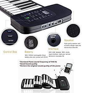 Roll up piano portable 88 key soft elastic electronic music keyboard piano built-in loudspeaker rechargeable battery for beginners gift by JIAFU