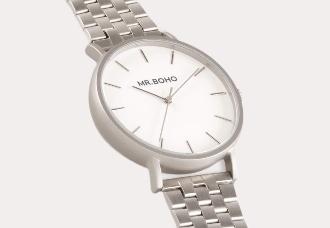 Reloj mr. boho 16-v-iw vintage metallic iron acero: Amazon.es: Deportes y aire libre