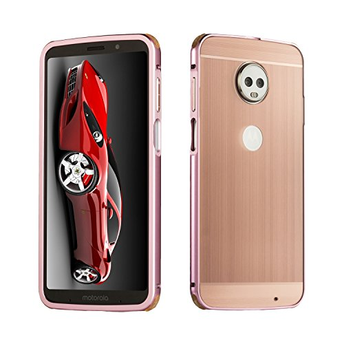 DAMONDY Moto Z3 Play Case, Luxury Ultra thin Imitation Metal Brushed Premium Aluminum Shockproof Protective Bumper Hard Back Case Cover for Motorola Moto Z3 Play-Rose by DAMONDY
