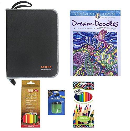 - Creative Haven Dream Doodles Adult Coloring Book Set with Black Organizer, Prismacolor Pencil Sharpener, 24 Pc Blendable Pencils, & 12 Pc Watercolor Pencils