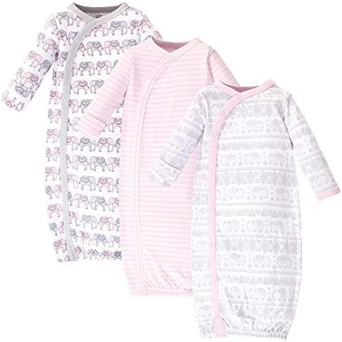 0-6 Months Pink Gray Scribble 3-Pack Touched by Nature Baby Girls Organic Cotton Kimono Gowns