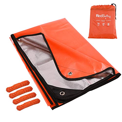RedSwing Emergency Thermal Blanket, Multipurpose Heavy Duty Reflective Tarp, Survival Space Blanket for All Weather, Orange ()