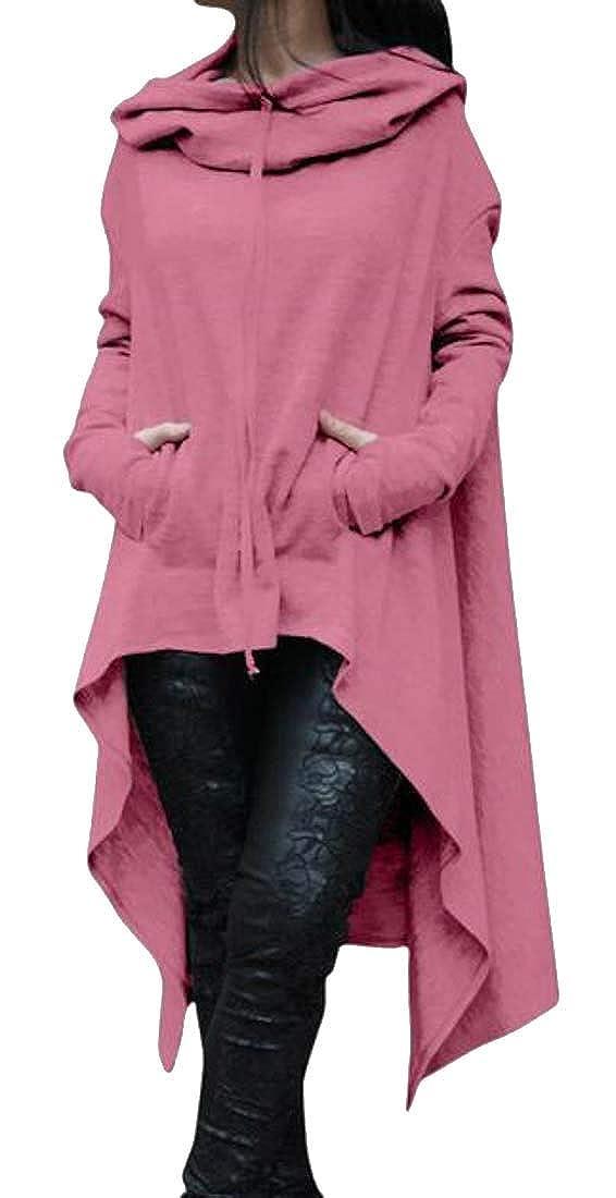 RRINSINS Womens Long Sleeve Hoodies Asymmetric Hem Sweatshirt Tunic Top