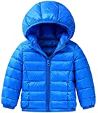 Kids Down Jacket for Boys Winter Coat Hoodies Girls Casual Tops Lightweight Long Sleeve Warm Unisex Children Clothes with Elastic Cuffs & 2 Front Pockets for Age 3-9 Years