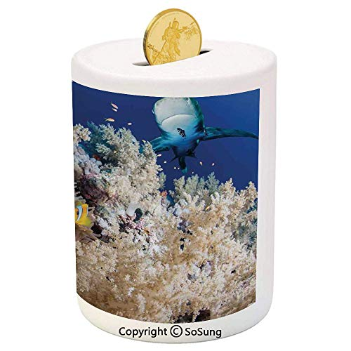 Sea Animal Decor Ceramic Piggy Bank,Reef with Little Clown Fish and Sharks East Egyptian Red Sea Life Scenery 3D Printed Ceramic Coin Bank Money Box for Kids & Adults,Blue Cream