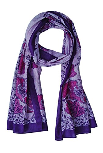 California Poppy Scarf: Sheer Soft Cotton: Purple Mauve (India In Scarf Made)