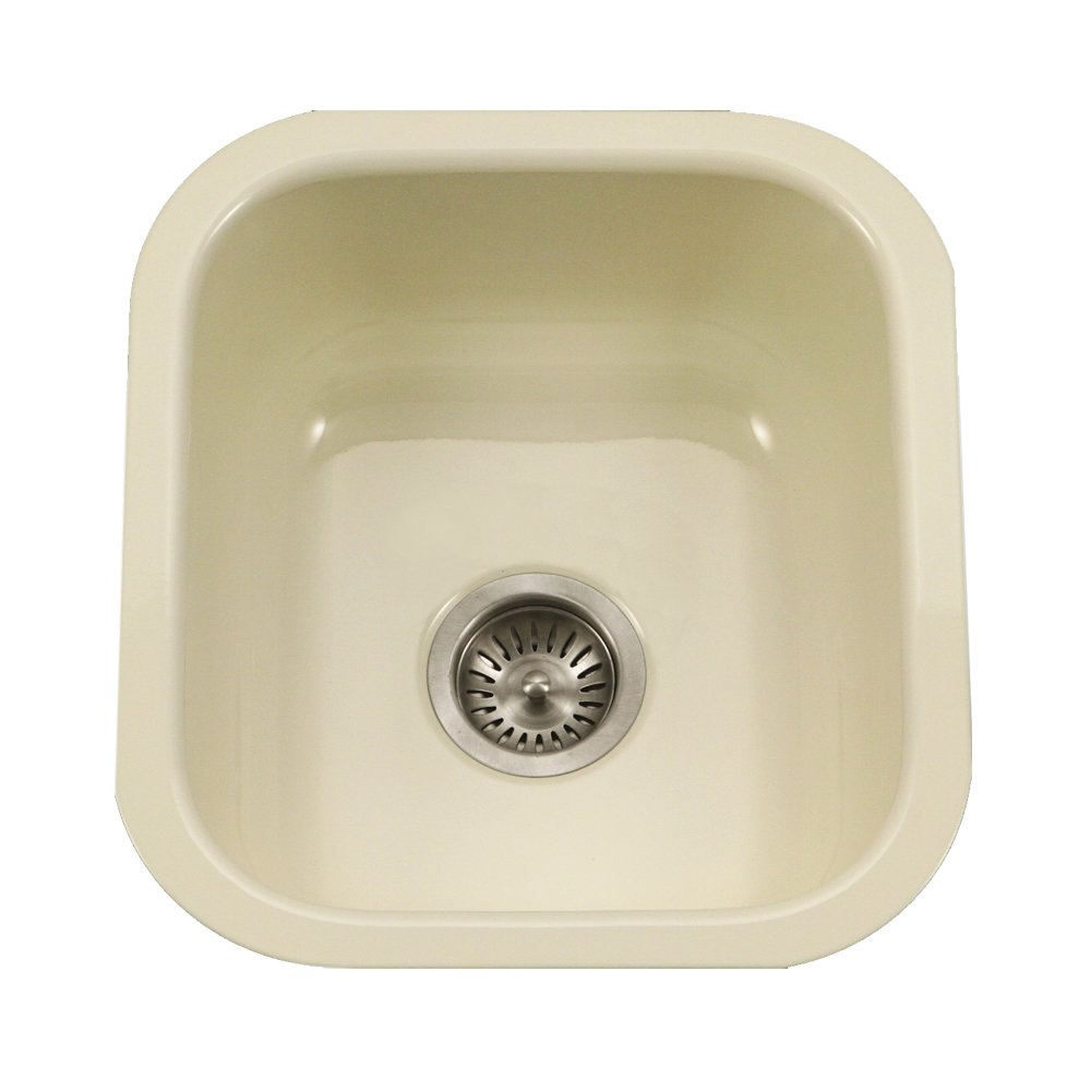 Houzer PCB-1750 BQ Porcela Series Porcelain Enamel Steel Undermount Bar/Prep Sink, Biscuit