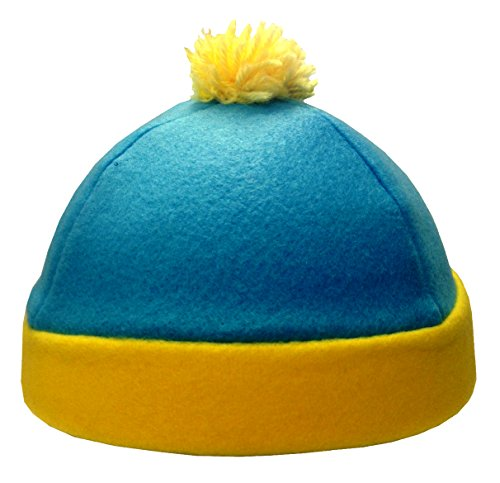 MyPartyShirt South Park Costume Hats (Choose Your Character) Fleece Ski Cap Cartoon TV (Eric Cartman South Park Costume Hat Blue Yellow Fleece Winter Ski Cap TV Cosplay)