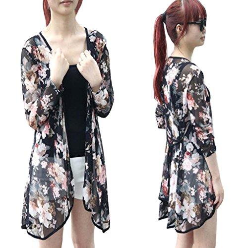 TOPUNDER Women Casual Floral Cardigan Shawl Gauze Kimono Coat Blouse Tops from TOPUNDER