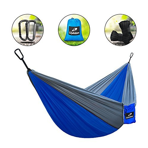 Camping Hammocks by Lhedon,Portable Parachute Nylon Hammock Outdoor Hammock with Tree Straps and Solid Carabiners,Lightweight Hammock for (Nylon Carabiner)
