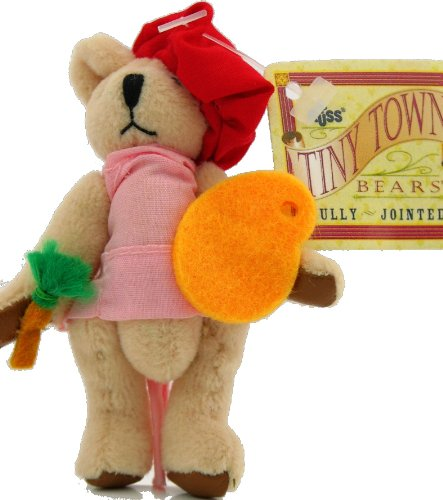 "Russ Tiny Town Miniature Jointed Plush Teddy Bear Girl Artist 3-1/2"" from Russ Berrie"