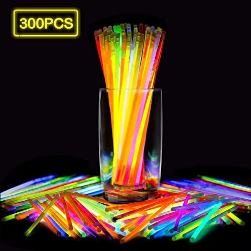 Kydara Glow Sticks, 300 Pcs Glow in The Dark Party for Kids Supplies Glowing Bracelet, Comes with Bracelet Connectors- Perfect for Birthdays, Parties, Performances, Halloween