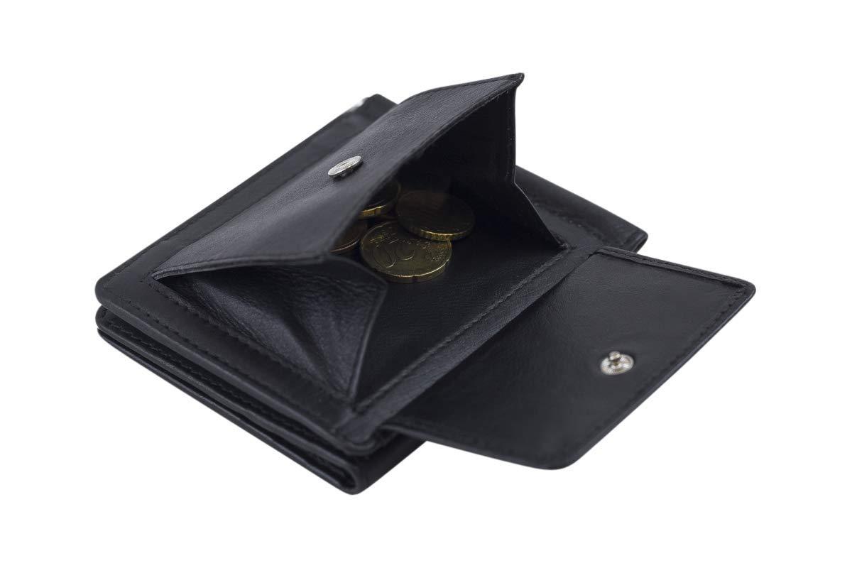 Piel aut/éntica LEAS Special Edition negro Cartera con clip para billetes Pinza para billetes LEAS