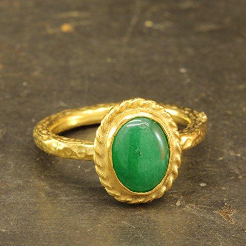 (Natural Green Jade Ring 925 Sterling Silver 24K Gold Vermeil Handcrafted Hammered Designer Roman Art Ring Gemstone Ring)