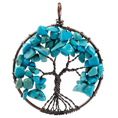 SUNYIK Tumbled Blue Howlite Turquoise Tree of Life Pendant Copper Color