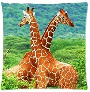 Pillowcase Pillow Cover Cute Giraffe Zippered Pillow Protector 18x18 inch (one side)