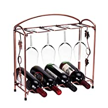 KCHAIN Removable Stainless Steel 4 Bottles 8 Goblets Hanging Display Wine Rack Brass Tone