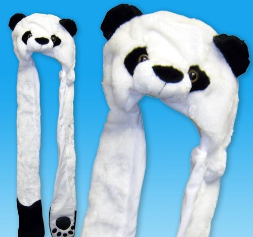 35'' PLUSH PANDA HAT WITH PAW PRINTS, Case of 24 by DollarItemDirect