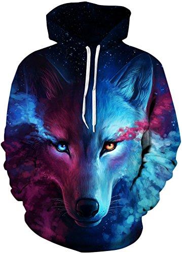 Hooded Kids Sweater - FLYCHEN Boys Fashion Print Hoodies Drawstring Pockets Unisex Teens Hooded Sweatshirt L/XL Leader Wolf
