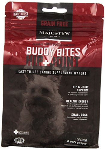 Majesty's Buddy Bites Hip & Joint Grain Free supplement for Small Dogs - 56 count (Majestys Buddy Bites)