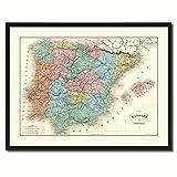 Spain Portugal Vintage Antique Map 36057 Canvas Print Picture Frame Home Decor Wall Art Livingroom Housewarming Gift Ideas 28''x37''