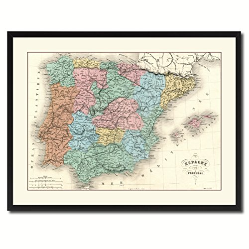 Spain Portugal Vintage Antique Map 36057 Canvas Print Picture Frame Home Decor Wall Art Livingroom Housewarming Gift Ideas 28''x37'' by SpotColorArt