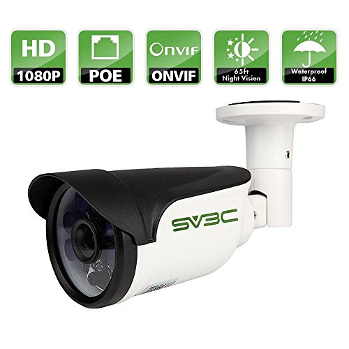 SV3C Full HD 1080P Bullet Outdoor Security Camera Poe IP Camera,1920X1080 Resolution,20Meter Night Vision,IP66 Waterproof,Support Remote Viewed by Iphone,Andriod Phone,Pad and Windows PC