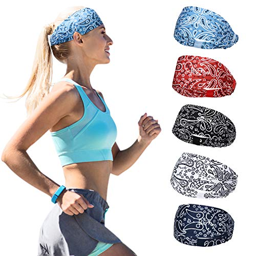BSTPOWER Sweatbands Bohemia Flower Sports Headbands Wicking Stretchy Head Wrap for Yoga/Cycling/Running/Fitness Exercise Head Scarf Pullover for Women (5 PCS)