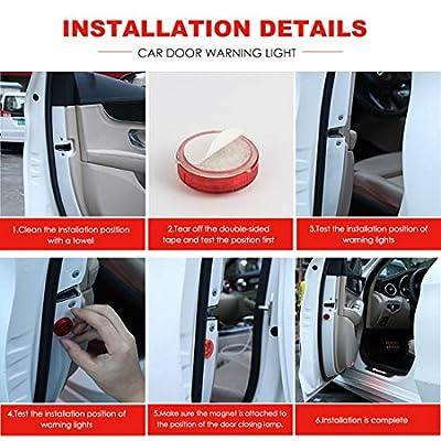 Maodaner 4 PCS Universal Wireless Car Door LED Warning Light, Strobe Flashing Anti Collision Signal LED Safety Lamps (Red): Automotive