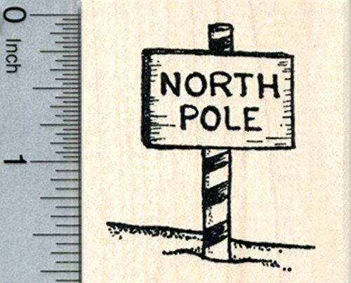 North Pole Sign Rubber Stamp, Christmas Santa Series - North Pole Rubber