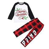 FEDULK Matching Family Pajamas Merry Christmas Plaid Sleepwear Holiday Xmas Pjs Sets(Black2, Kid-2T)