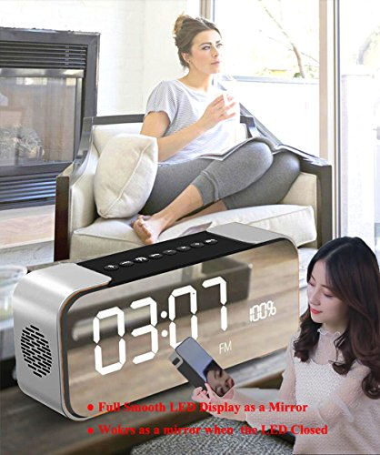 Bluetooth Speakers,HAMAXA Portable Wireless Stereo Speaker with Built-in Micrphone,Hands-Free,FM Radio,LED Alarm Clock,Two Subwoofer Enhanced Bass Hi-Fi Surround for iPhone iPad Samsung Tablet PC Home