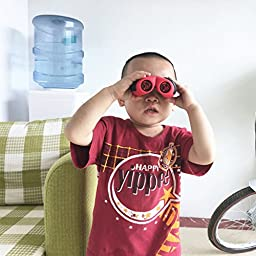 Luwint 8 X 21 Kids Binoculars for Bird Watching, Watching Wildlife or Scenery, Game, Mini Compact and Image Stabilized, Best Gifts for Children (Red)