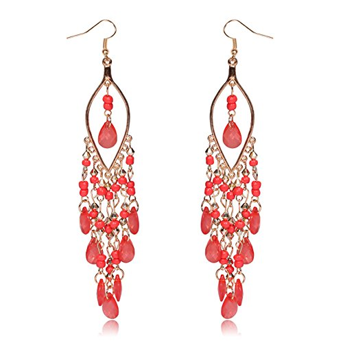 Cherry Anne Adult Costumes (Sunne Exaggerated Peacock Shape Long Pendant Earrings for Long Skirt Earrings Red)