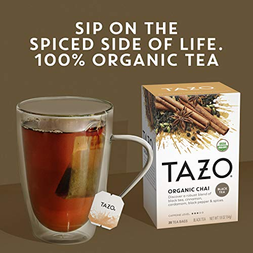Tazo Organic Chai Tea Bags For a Warm Spiced Chai Black Tea Moderately Caffeinated Morning Drink 20 Tea Bags (Pack of 6, 20 Tea Bags/Pack)