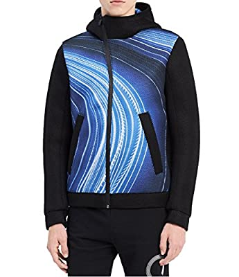 Calvin Klein Men's CK One Printed Asymmetrical Full-Zip Hooded Jacket