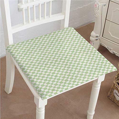 (Outdoor Chair Cushion Squares Checked Pattern in Soft Colors Retro Monochrome Tile Print Lime Green White Comfortable, Indoor, Dining Living Room, Kitchen, Office, Den, Washable 16