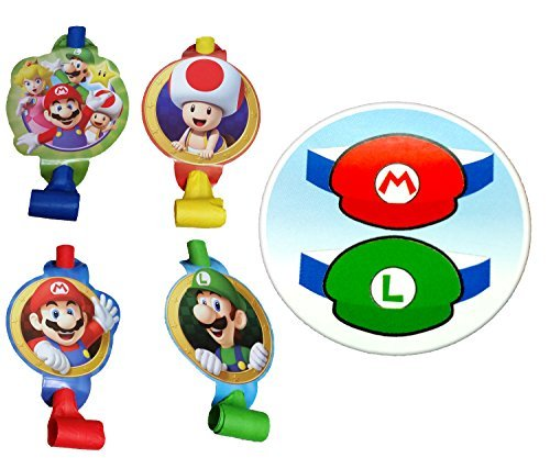 Super Mario Bros Party Blowouts and Paper Hats for 8 Guests (16 Pieces)