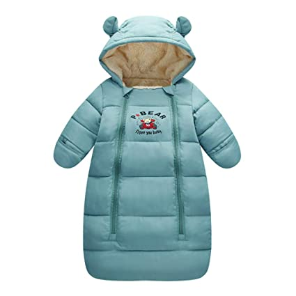 Saco de dormir para bebés 3 Tog, Recién Nacido Mangas Largas con Capucha Mameluco Invierno
