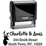 Black Ink, Deer - Stag Custom Personalized Self Inking Return Address Stamp - Perfect Family, Business, Real Estate, Housewarming, Wedding, Teacher Client, or Christmas Gift