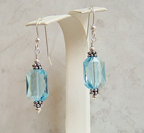 Blue Rectangle Sterling Silver Earrings Simulated Aquamarine March Birthstone Made With Swarovski Crystals Gift Idea