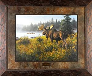 In His Domain Robert Duncan 36x30 Gallery Quality Framed Art Moose Wildlife Picture Painting